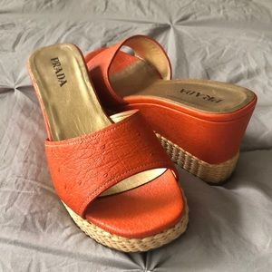 Prada vintage orange wedges